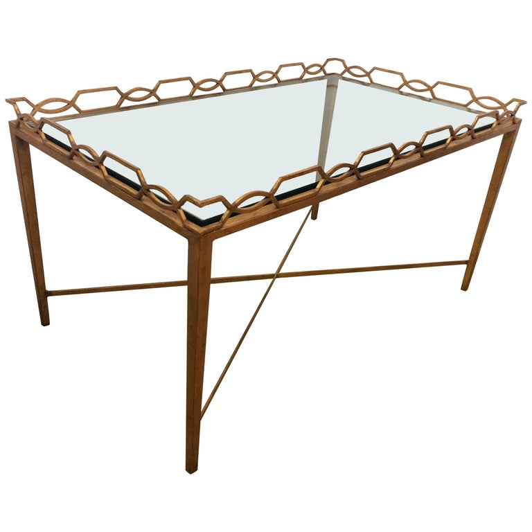 Glamorous Gold Leaf Iron Italian Mid-Century Modern Coffee Cocktail Table