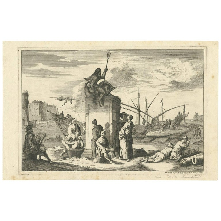Antique Untitled Harbour View 'I' by J. Wolff, circa 1730