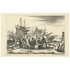 Antique Untitled Harbour View (III) by J. Wolff 'circa 1730'