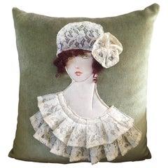 Art Deco French Handwoven Art Cushion Pillow, 1920s Woman Decor, Velvet Lace