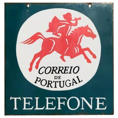 Double-Sided Post Office Telephone Enamel Sign from Portugal, circa 1960s