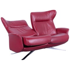 Joop! Leather Sofa Red Two-Seat Recliner