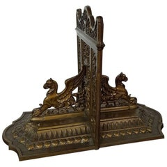 Set Bronze Colored Bookends with Griffons