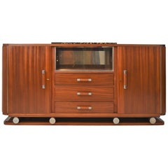 Fabulous Gaston Poisson Art Deco Sideboard in Solid Mahogany, 1930s
