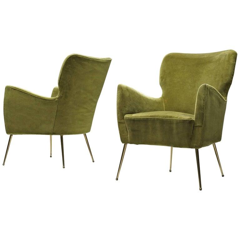 Pair of Elegant Wingback Chairs in Original Green Velvet