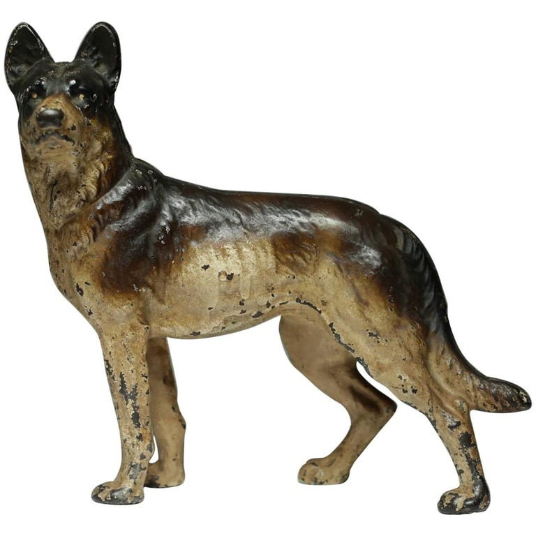 Early 20th Century Cast Iron German Shepard Doorstop by Hubley, circa 1930s