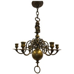 19th Century Old Dutch Chandelier with Matching Two-Light Candleholder