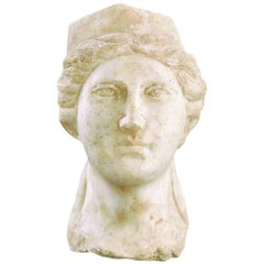 Ancient Roman Marble Head Bust of Minerva, Goddess of Art and Wisdom, 150 AD