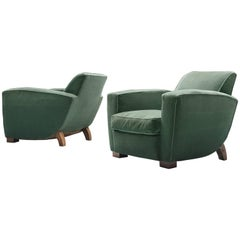 Pair of Green Velvet Easy Chairs