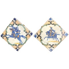 Pair of Blue and Yellow Neapolitan Tiles