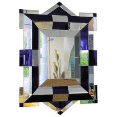 Tommi Parzinger Large Sculptural Cobalt Blue Mirror