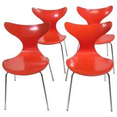Arne Jacobsen Set of Four 3108 Dining Chairs for Fritz Hansen, Denmark, 1974