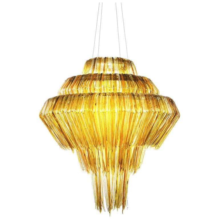 Brilli B Chandelier in Gold Resin by Jacopo Foggini