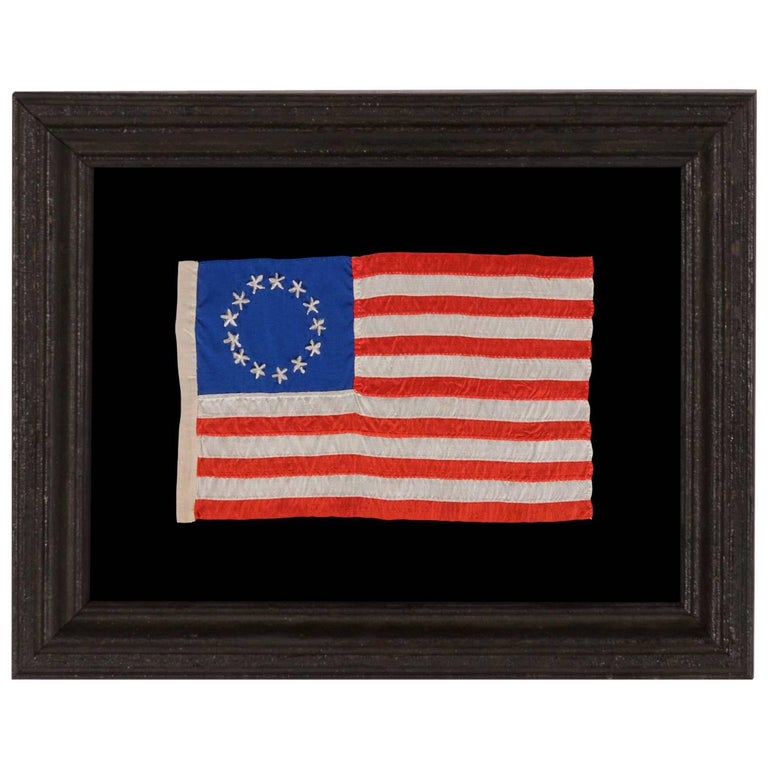 13 Hand-Embroidered Stars and Hand-Sewn Stripe on Antique American Flag