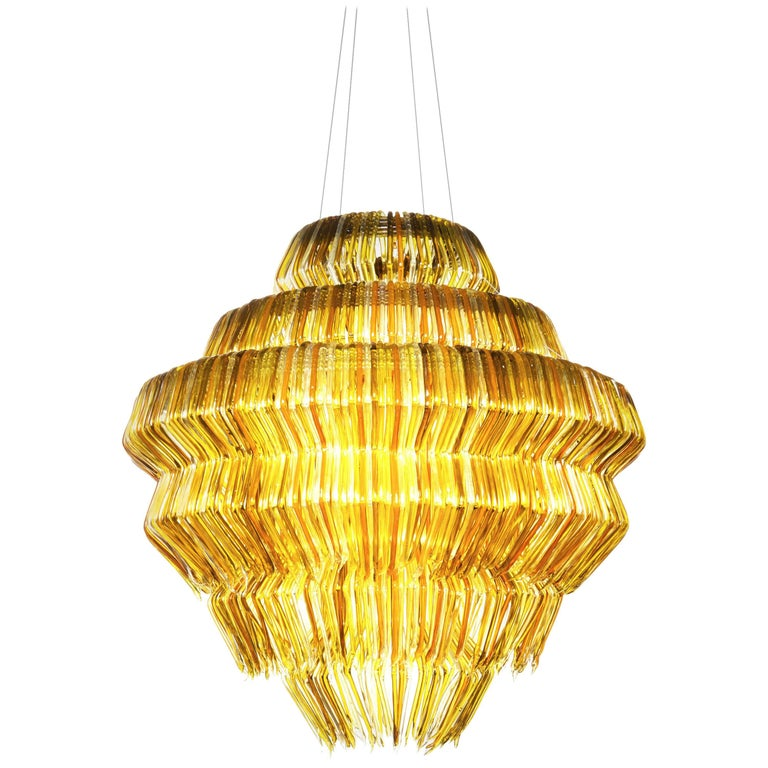 Brilli G Chandelier in Gold Resin by Jacopo Foggini