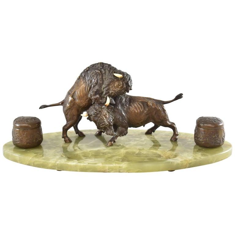 Bronze Western Fighting Buffalo Inkwell Green Onyx Base For Sale