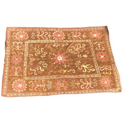 Large Vintage Floral Embroidered Suzani Textile