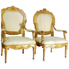 Pair of Italian Louis XV Gilded Armachairs