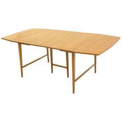 Drop-Leaf Dining Table by Paul McCobb, Expandable with Three Leaves, Solid Maple