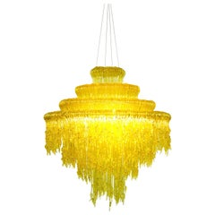 Sneeze B Chandelier in Yellow Resin by Jacopo Foggini