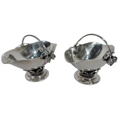 Pair of Georg Jensen Hand-Hammered Sterling Silver Bud Baskets