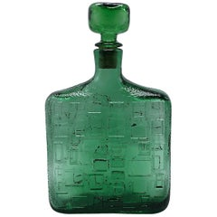 Green Glass Decanter with Stopper, circa 1970