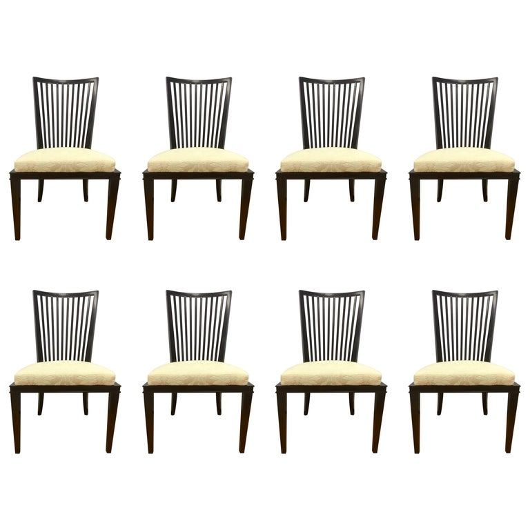 Barbara Barry for Baker Furniture Slat Back Dining Room Chairs, Set of Eight