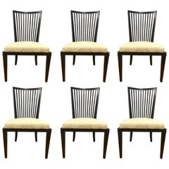 Barbara Barry for Baker Furniture Set of Six Slat Back Dining Room Chairs