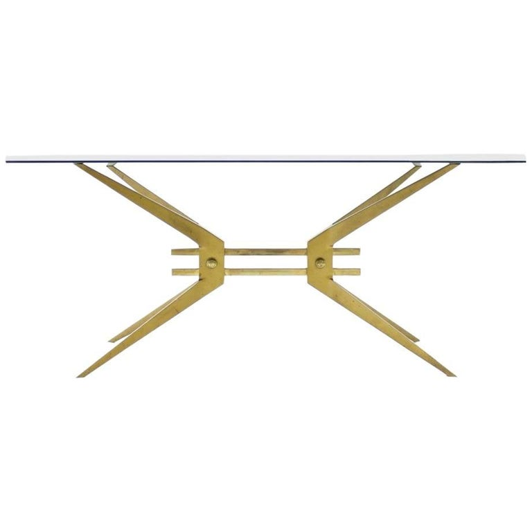 Italian Coffee Table in Brass and Glass, 1950s