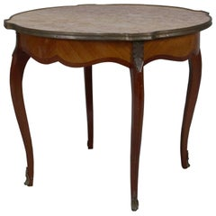 Antique French Louis XVI Mahogany, Kingwood, Marble and Bronze Low Table