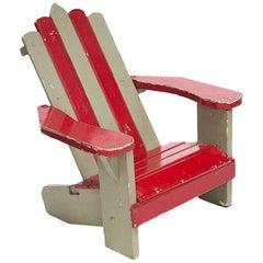 Striped Child Adirondack Chair, Designer Unknown, USA, 1930s