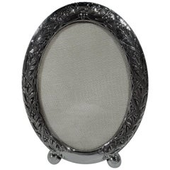 Small and Delightful Antique Sterling Silver Oval Picture Frame by Kerr