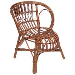 Rattan Child Chair, Designer Unknown, France, 1960s