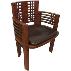 French Late Art Deco Cuban Mahogany Armchair, Andre' Sornay, 1937