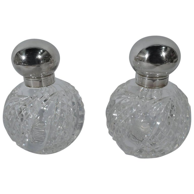 Pair of Antique English Edwardian Sterling Silver and Glass Perfumes
