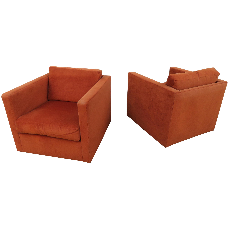 Handsome Pair Of Milo Baughman Thayer Coggin Cube Chairs Mid Century Modern