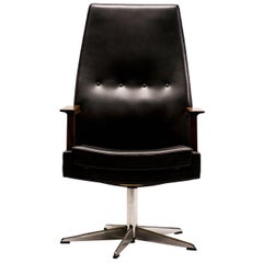 Scandinavian Rosewood and Leather Executive Desk Chair