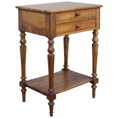 Antique French Walnut Side Table with Turned Legs