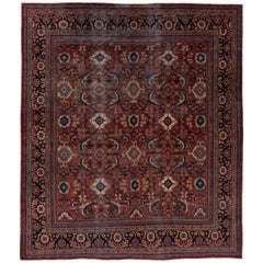 Antique Square Mahal Rug with a Rare Design