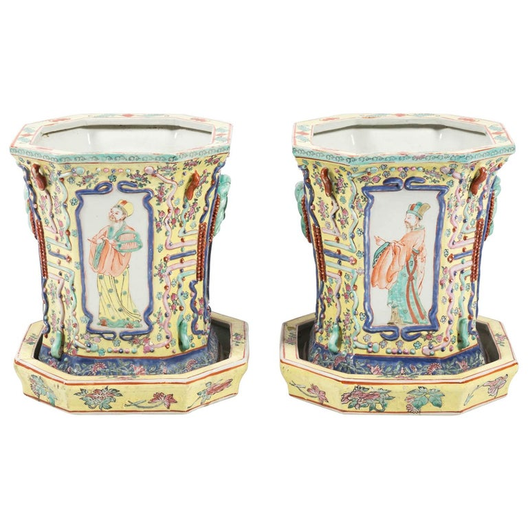 Pair of 19th Century Chinese Cachepots