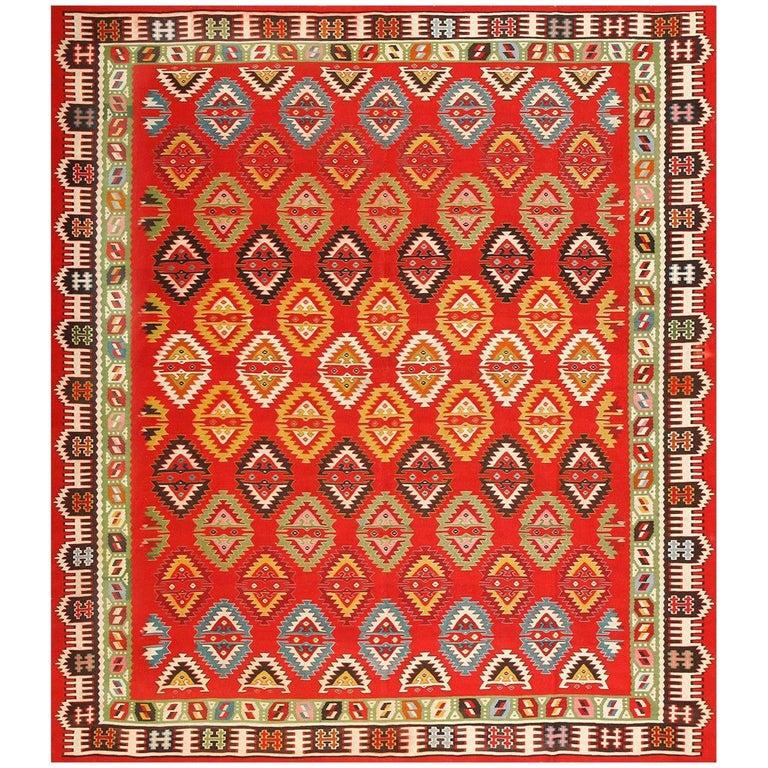 Vibrant and Fine Vintage Sarkoy Turkish Kilim Rug