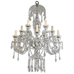 English Cut Crystal Twelve-Arm Georgian Style Chandelier, circa 1900