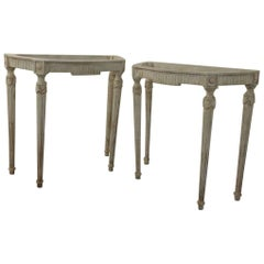 Pair of Painted White Vintage Louis XVI Style Console Tables