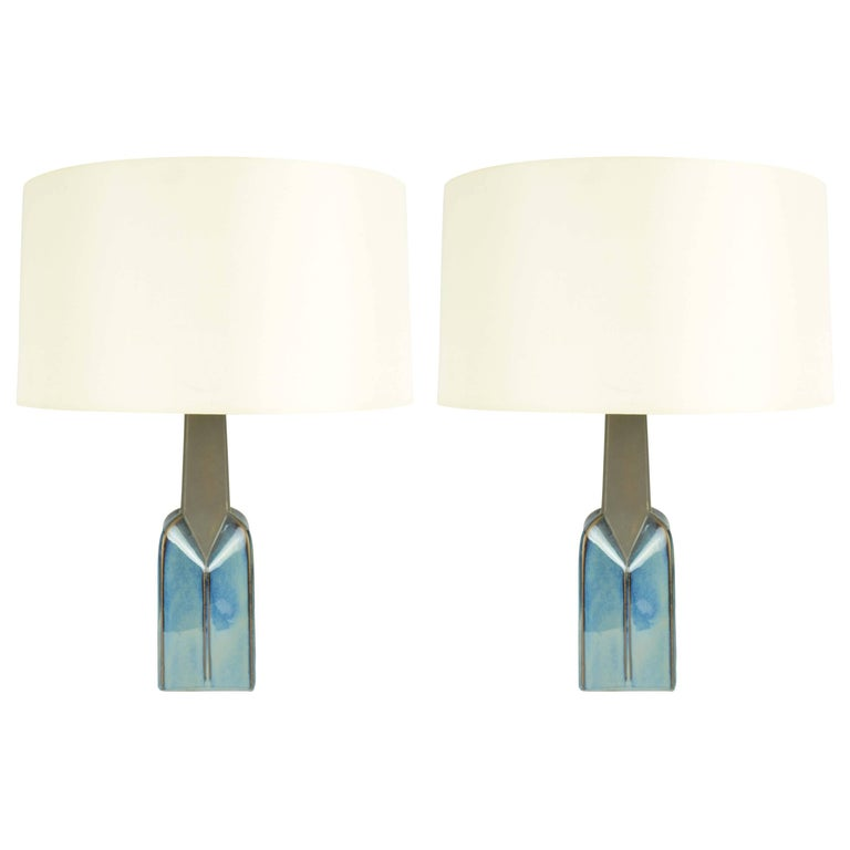 Pair of Soholm Stentoj of Denmark Ceramic Lamps by Einar Johansen For Sale