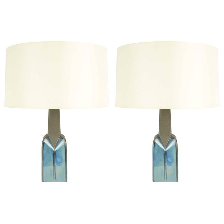 Pair of Soholm Stentoj of Denmark Ceramic Lamps by Einar Johansen