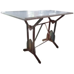 French Art Deco Iron Table with Marble Top