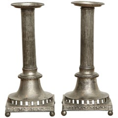 Gustavian Pewter Candlesticks, Pair, Swedish, circa 1800