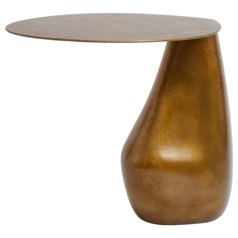 Dionis Side Table in Patinated Bronze, Hand-Sculpted For Sale