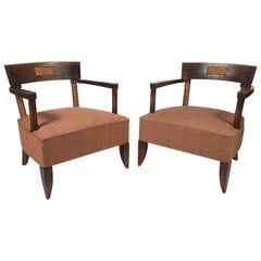 Pair of French Art Deco African Inspired Oak and Paper Cord Armchairs