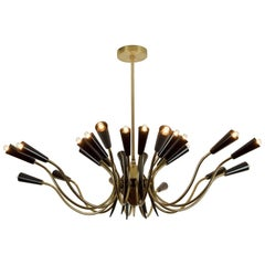 Massive 24-Arm Stilnovo Style Brass and Black Enamel Chandelier